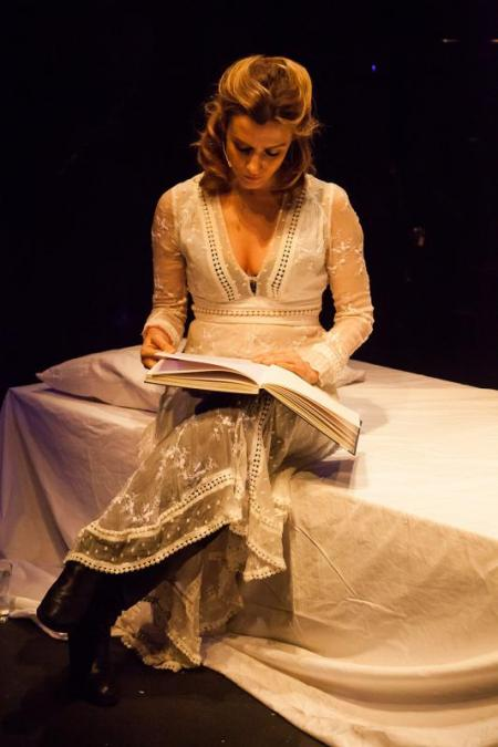 Actress Lisa Dwan performs at The Journey Between Us at Southwark Playhouse, February 2016