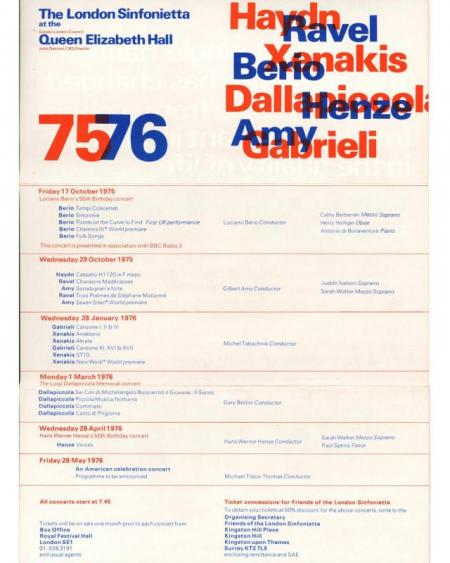 1975 - Season Programme, October - December, generously supported by John Bird