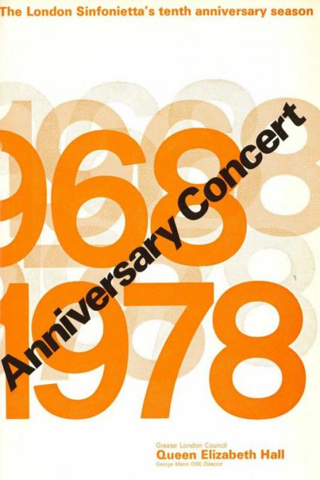 1978 - 10th Anniversary Concert, 24 January, generously supported by Walter A. Marlowe