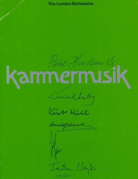 1981 - Kammermusik Series, 21 June–7 July, generously supported by Michael McLaren-Turner