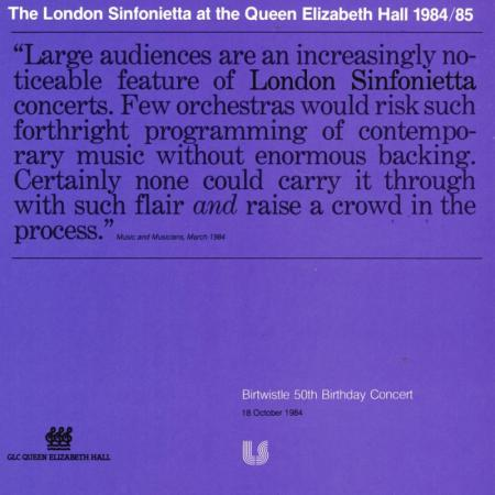 1984 - Birtwistle: 50th Birthday Concert, 18 October, generously supported by Robert Clark & Susan Costello