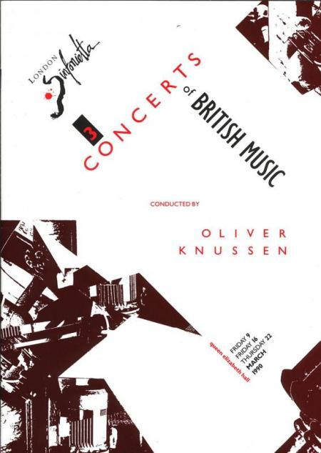 1990 - Three Concerts of British Music, 9–22 March, generously supported by Stephen & Dawn Oliver