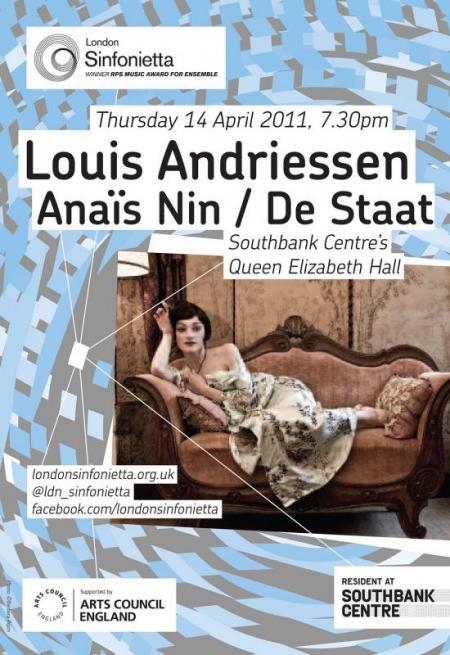 2011 – Louis Andriessen: Anaïs Nin/De Staat, 14 April