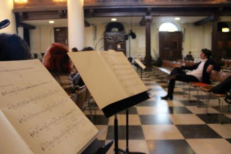 Scores placed in the middle of the hall for a differrent concert experience - and composer Christian Mason in the background
