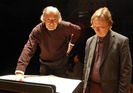 Emilio Pomarico and Georg Friedrich Haas in rehearsal for in vain's UK premiere in 2013 © Hildegaard Titus