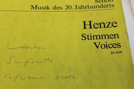 The score for Hans Werner Henze's Voices