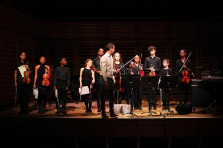Young musicians with Darragh Morgan as part of our Turning Points: Berio concert, November 2017