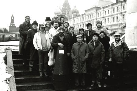 Oliver Knussen and the London Sinfonietta on tour in the USSR 1988 © Clive Barda