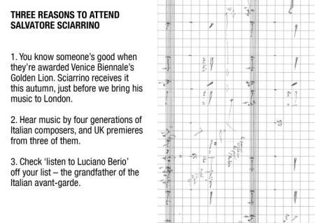 Three Reasons to Attend Salvatore Sciarrino