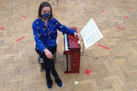 Pianist Clíodna Shanahan with her Toy Piano