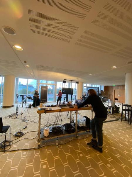 Adam operating the live stream from Southbank Centre