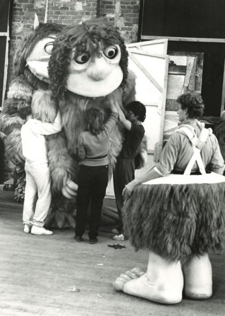 Image:Backstage for Where the Wild Things Are, Glyndebourne Touring Opera 1984 © Guy Gravett