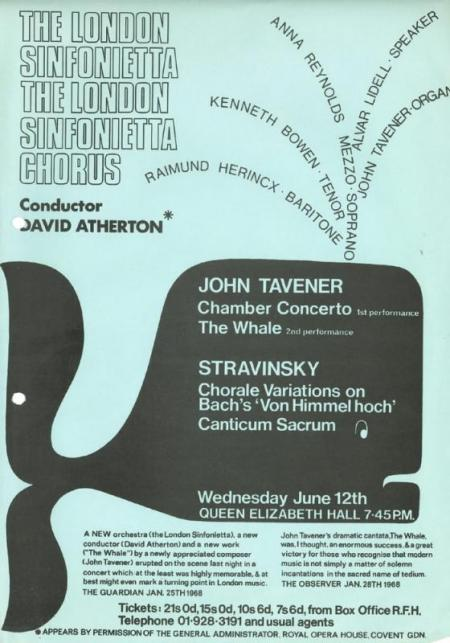 Concert poster for The Whale, first performed at Queen Elizabeth Hall in 1968
